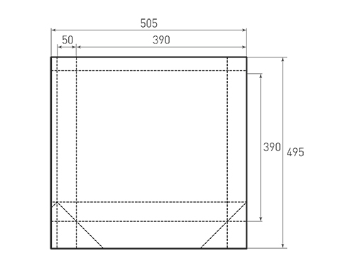 Штамп для вырубки квадратного бумажного пакета k 390-390-100. Привью 500x375 пикселов.