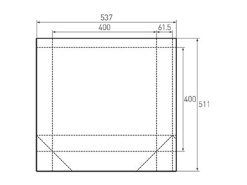 Штамп для вырубки квадратного бумажного пакета k 400-400-123. Привью 500x375 пикселов.