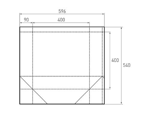 Штамп для вырубки квадратного бумажного пакета k 400-400-180. Привью 500x375 пикселов.