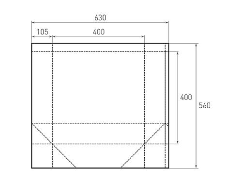 Штамп для вырубки квадратного бумажного пакета k 400-400-210. Привью 500x375 пикселов.