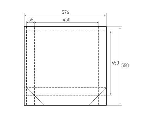 Штамп для вырубки квадратного бумажного пакета k 450-450-110. Привью 500x375 пикселов.