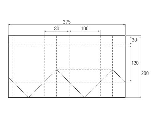 Штамп для вырубки вертикального бумажного пакета v 100-120-80 (1 шт. на штампе). Привью 500x375 пикселов.
