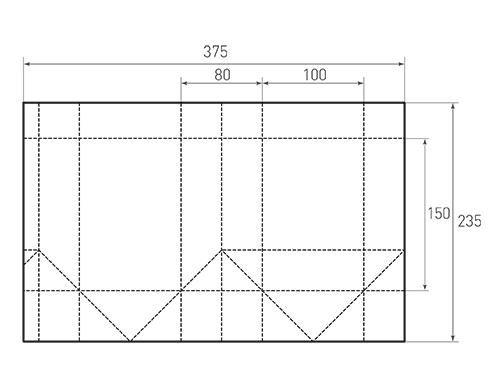 Штамп для вырубки вертикального бумажного пакета v 100-150-80 (1 шт. на штампе). Привью 500x375 пикселов.