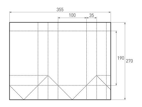 Штамп для вырубки вертикального бумажного пакета v 100-190-70 (1 шт. на штампе). Привью 500x375 пикселов.