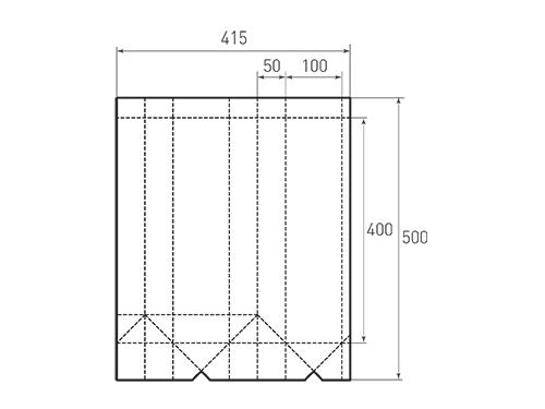 Штамп для вырубки вертикального бумажного пакета под бутылку v 100-400-100. Привью 500x375 пикселов.