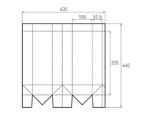 Штамп для вырубки вертикального бумажного пакета под бутылку v 105-335-105. Привью 500x375 пикселов.