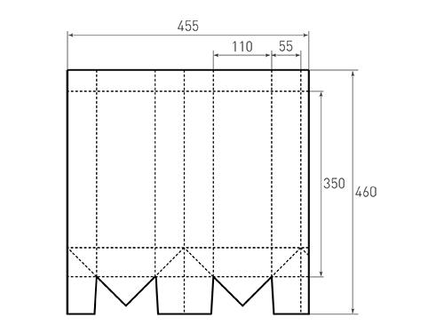 Штамп для вырубки вертикального бумажного пакета под бутылку v 110-350-110 a. Привью 500x375 пикселов.