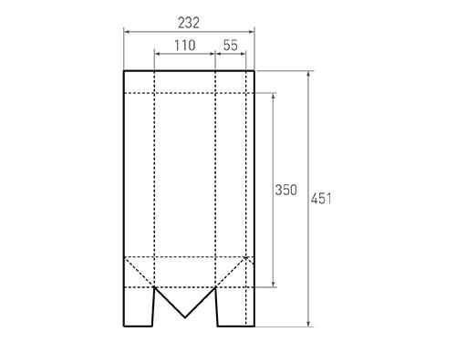 Штамп для вырубки вертикального бумажного пакета под бутылку v 110-350-110. Привью 500x375 пикселов.