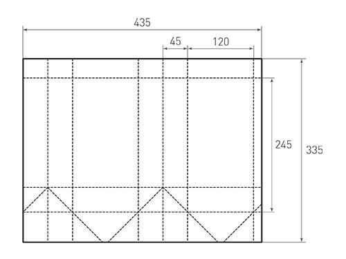 Штамп для вырубки вертикального бумажного пакета v 120-245-90 (1 шт. на штампе). Привью 500x375 пикселов.