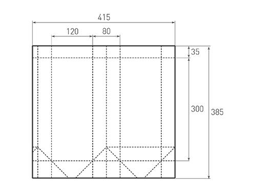 Штамп для вырубки вертикального бумажного пакета v 120-300-80 (1 шт. на штампе). Привью 500x375 пикселов.