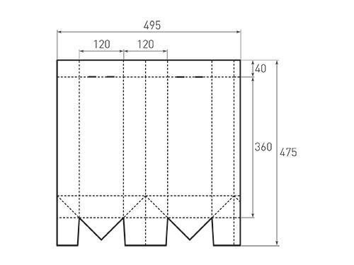 Штамп для вырубки вертикального бумажного пакета под бутылку v 120-360-120. Привью 500x375 пикселов.
