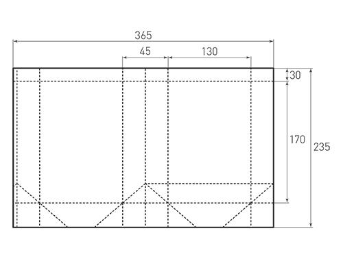 Штамп для вырубки вертикального бумажного пакета v 130-170-45 (1 шт. на штампе). Привью 500x375 пикселов.