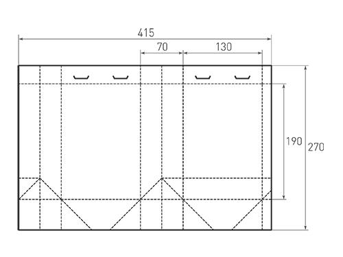 Штамп для вырубки вертикального бумажного пакета v 130-190-70 (1 шт. на штампе). Привью 500x375 пикселов.