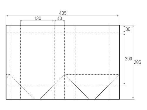 Штамп для вырубки вертикального бумажного пакета v 130-200-80 (1 шт. на штампе). Привью 500x375 пикселов.