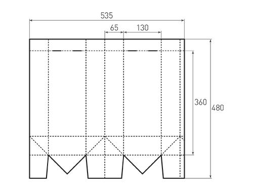 Штамп для вырубки вертикального бумажного пакета под бутылку v 130-360-130. Привью 500x375 пикселов.
