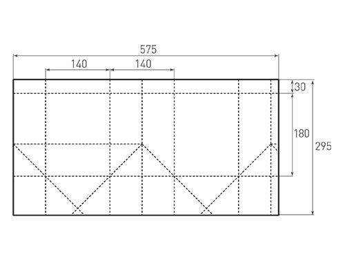 Штамп для вырубки вертикального бумажного пакета под бутылку v 140-180-140. Привью 500x375 пикселов.