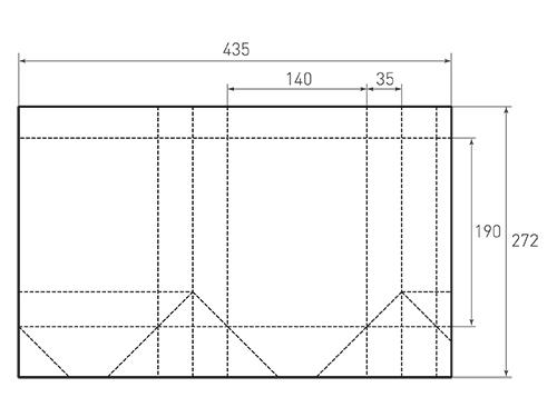 Штамп для вырубки вертикального бумажного пакета v 140-190-70 (1 шт. на штампе). Привью 500x375 пикселов.