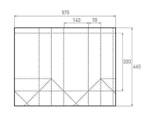 Штамп для вырубки вертикального бумажного пакета под бутылку v 140-330-140. Привью 500x375 пикселов.