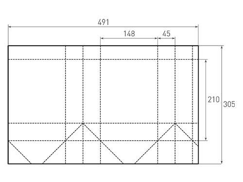 Штамп для вырубки вертикального бумажного пакета v 148-210-90 (1 шт. на штампе). Привью 500x375 пикселов.