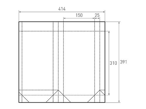 Штамп для вырубки вертикального бумажного пакета v 150-310-50 (1 шт. на штампе). Привью 500x375 пикселов.