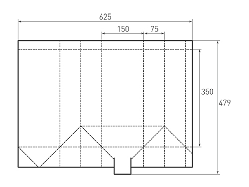 Штамп для вырубки вертикального бумажного пакета под бутылку v 150-350-150. Привью 500x375 пикселов.