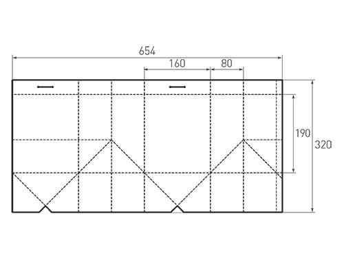 Штамп для вырубки вертикального бумажного пакета под бутылку v 160-190-160. Привью 500x375 пикселов.