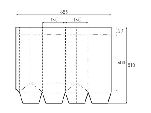 Штамп для вырубки вертикального бумажного пакета под бутылку v 160-400-160. Привью 500x375 пикселов.