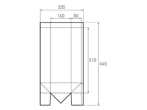 Штамп для вырубки вертикального бумажного пакета под бутылку v 160-510-160. Привью 500x375 пикселов.