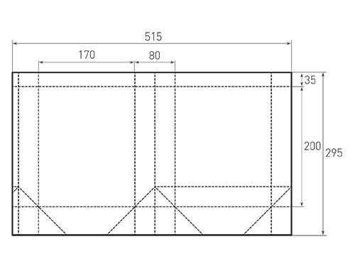 Штамп для вырубки вертикального бумажного пакета v 170-200-80 (1 шт. на штампе). Привью 500x375 пикселов.