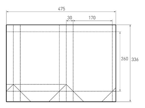 Штамп для вырубки вертикального бумажного пакета v 170-260-60 (1 шт. на штампе). Привью 500x375 пикселов.