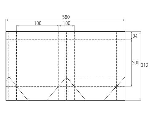 Штамп для вырубки вертикального бумажного пакета v 180-200-100 (1 шт. на штампе). Привью 500x375 пикселов.