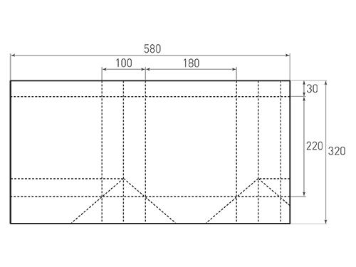Штамп для вырубки вертикального бумажного пакета v 180-220-100 (1 шт. на штампе). Привью 500x375 пикселов.