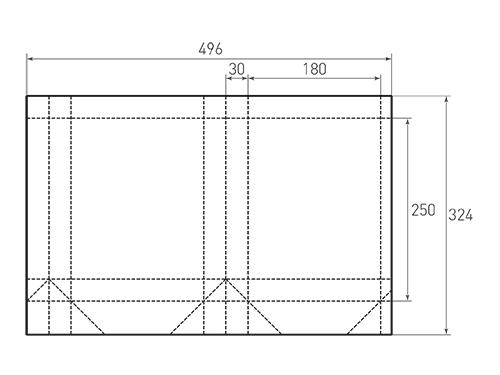 Штамп для вырубки вертикального бумажного пакета v 180-250-60 (1 шт. на штампе). Привью 500x375 пикселов.