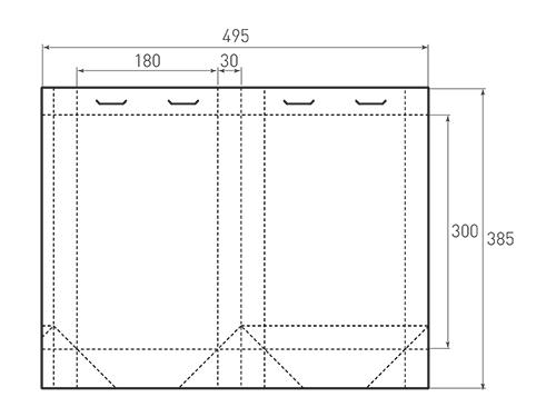 Штамп для вырубки вертикального бумажного пакета v 180-300-60 (1 шт. на штампе). Привью 500x375 пикселов.