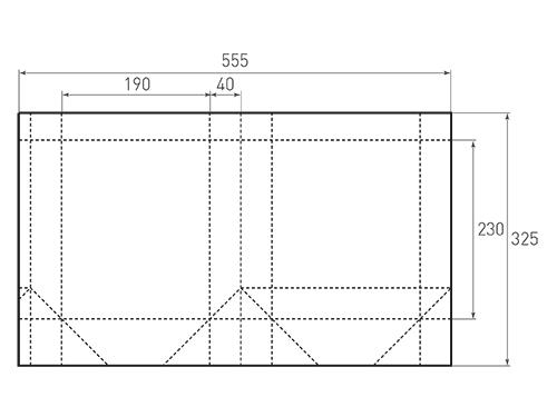 Штамп для вырубки вертикального бумажного пакета v 190-230-80 (1 шт. на штампе). Привью 500x375 пикселов.