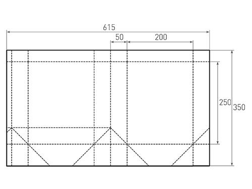 Штамп для вырубки вертикального бумажного пакета v 200-250-100 (1 шт. на штампе). Привью 500x375 пикселов.