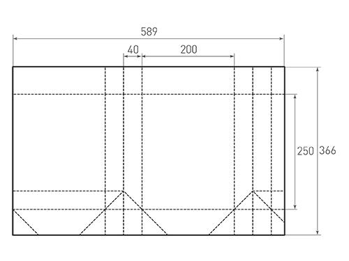 Штамп для вырубки вертикального бумажного пакета v 200-250-80 (1 шт. на штампе). Привью 500x375 пикселов.