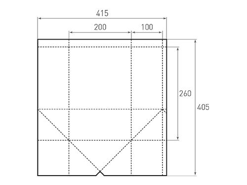 Штамп для вырубки вертикального бумажного пакета под бутылку v 200-260-200. Привью 500x375 пикселов.