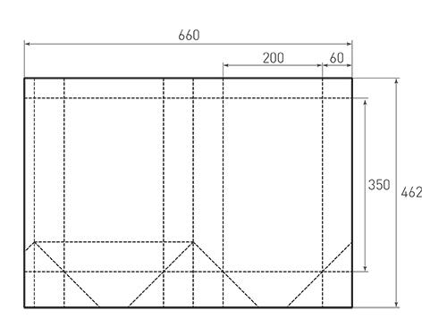 Штамп для вырубки вертикального бумажного пакета v 200-350-120 (1 шт. на штампе). Привью 500x375 пикселов.