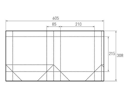 Штамп для вырубки вертикального бумажного пакета v 210-215-85 (1 шт. на штампе). Привью 500x375 пикселов.