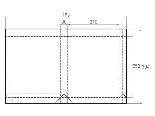 Штамп для вырубки вертикального бумажного пакета v 210-250-30 (1 шт. на штампе). Привью 500x375 пикселов.