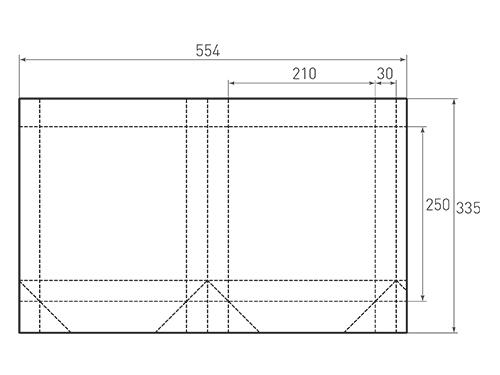 Штамп для вырубки вертикального бумажного пакета v 210-250-60 (1 шт. на штампе). Привью 500x375 пикселов.