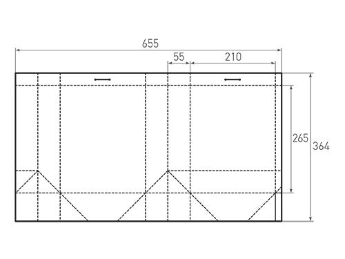 Штамп для вырубки вертикального бумажного пакета v 210-265-110 прорези (1 шт. на штампе). Привью 500x375 пикселов.