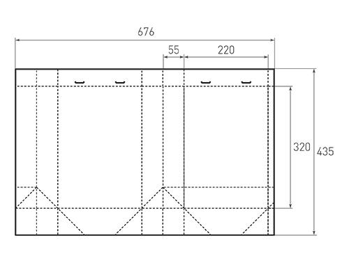 Штамп для вырубки вертикального бумажного пакета v 220-320-110 (1 шт. на штампе). Привью 500x375 пикселов.