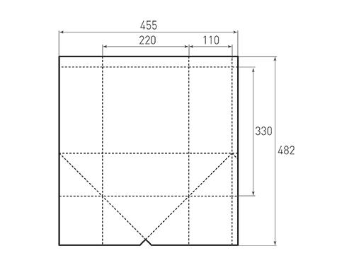Штамп для вырубки вертикального бумажного пакета под бутылку v 220-330-220. Привью 500x375 пикселов.