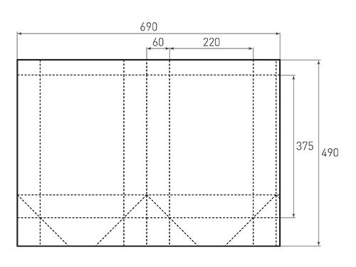 Штамп для вырубки вертикального бумажного пакета v 220-375-120 (1 шт. на штампе). Привью 500x375 пикселов.