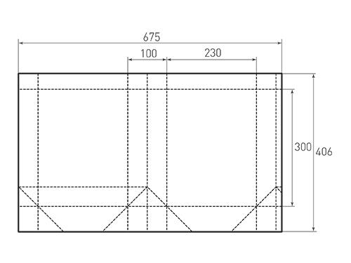 Штамп для вырубки вертикального бумажного пакета v 230-300-100 (1 шт. на штампе). Привью 500x375 пикселов.