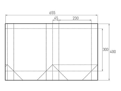 Штамп для вырубки вертикального бумажного пакета v 230-300-90 (1 шт. на штампе). Привью 500x375 пикселов.