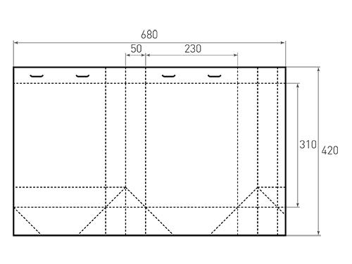 Штамп для вырубки вертикального бумажного пакета v 230-310-100 (1 шт. на штампе). Привью 500x375 пикселов.