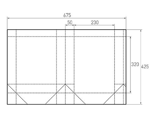 Штамп для вырубки вертикального бумажного пакета v 230-320-100 (1 шт. на штампе). Привью 500x375 пикселов.